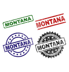 damaged textured montana seal stamps vector image