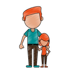 Father with his child cartoon vector
