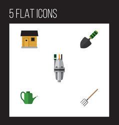 Flat icon farm set of pump bailer trowel and vector
