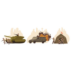 flat isolated war icon set vector image