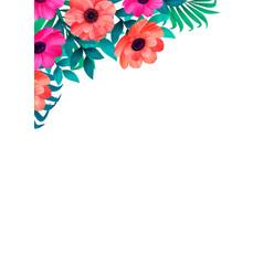 floral frame corner trendy tropical design vector image