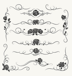 flourish roses decorative ornaments vector image
