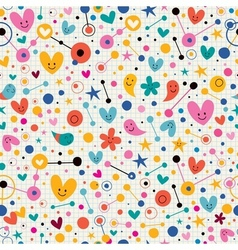 Funky cute cartoon retro note book paper pattern vector