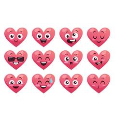 Funny emoji hearts collection vector