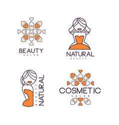 geometric emblems for beauty salon or natural vector image