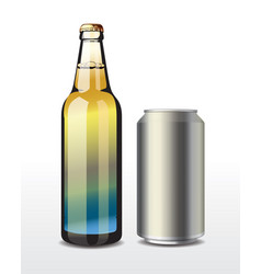 glass bottle and aluminium can vector image
