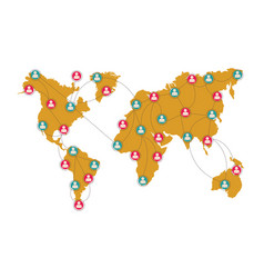 Global social network connection with map pointers vector