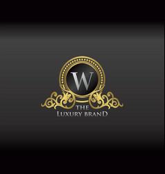 Gold luxury brand letter w elegant logo badge vector
