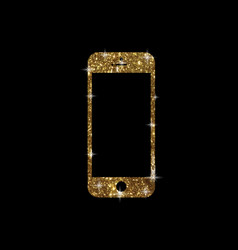 Golden glitter gold color flat smart phone icon vector
