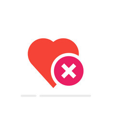 Heart tick icon healthy heart with cross symbol vector
