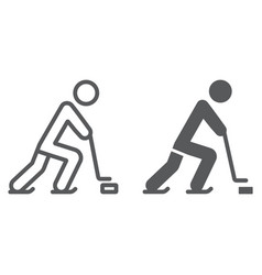 hockey player line and glyph icon sport and skate vector image