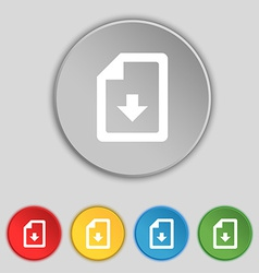 Import download file icon sign Symbol on five flat vector