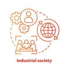 Industrial society red concept icon mass vector