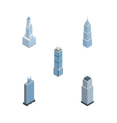 Isometric construction set of cityscape exterior vector