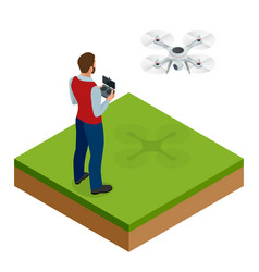 isometric man with drone quadrocopter remote vector image