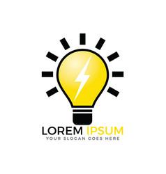 Light bulb and thunder bolt logo design vector