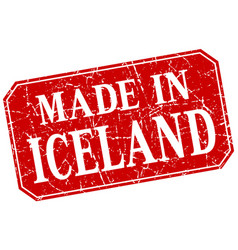 made in iceland red square grunge stamp vector image