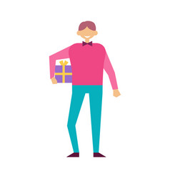 male with present wrapped gift box in hands vector image