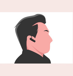 man listening music with bluetoooth headset vector image