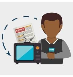 man tv reportage news vector image