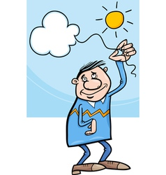 man with cloud on string cartoon vector image