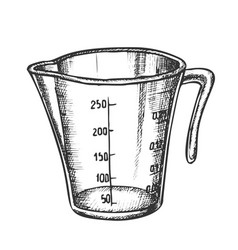 Measuring cup for baking and cooking ink vector