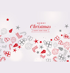 merry christmas festival card with different vector image