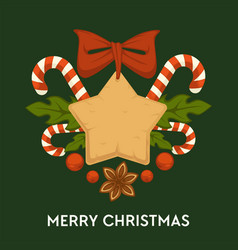 merry christmas traditional gingerbread cookies vector image