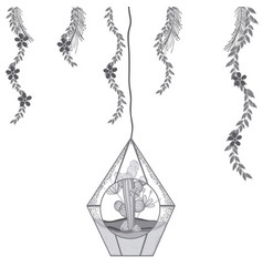 mini garden in crystal glass vector image