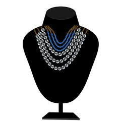 necklaces of pearls and blue stones vector image