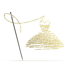 Needle with gold thread in form a cocktail vector