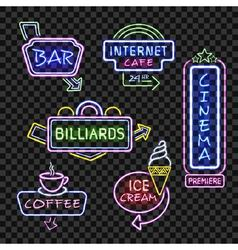Neon signs on transparent background vector