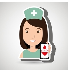 nurse crooss smartphone graphic vector image