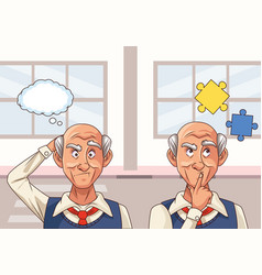 Old men patients alzheimer disease with puzzle vector
