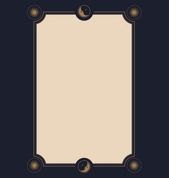 ornamental frame background with moons and stars vector image