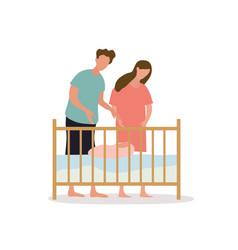 parents put their bato baby crib vector image