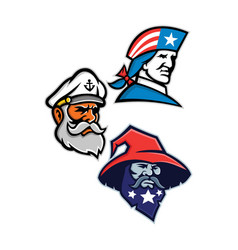 Patriot seadog and warlock mascot collection vector