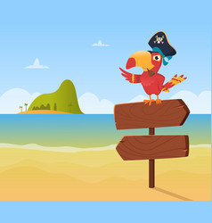 Pirate parrot funny colored bird arara sitting on vector