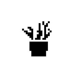 Plant pixel icon nature vector