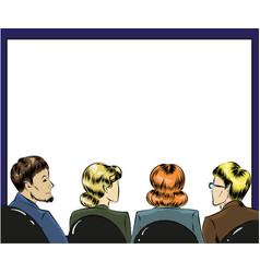 pop art spectators in first vector image