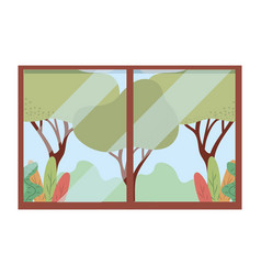 rural through window vector image