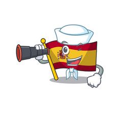 Sailor with binocular flag spain isolated in the vector