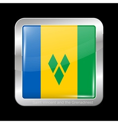 Saint Vincent and Grenadines Glossy Square Icon vector