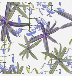 seamless pattern lilies flowers and plants vector image