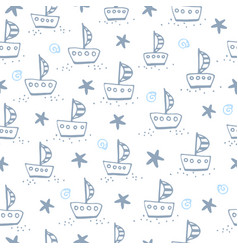 seamless pattern with sailing boat vector image