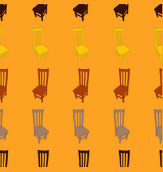 seamless pattern with wooden chairs vector image