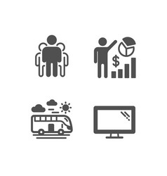 Seo statistics bus travel and group icons vector