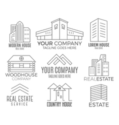 Set of house logo designs real estate icon vector image