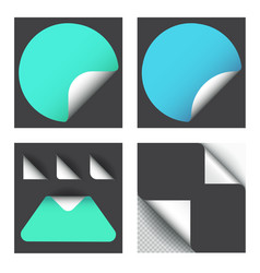 set sticker with paper curl with shadow isolated vector image