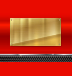 shiny brushed metal gold yellow plate with screws vector image